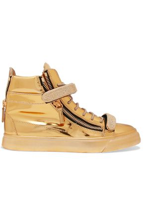 GIUSEPPE ZANOTTI Metallic embellished leather high-top sneakers