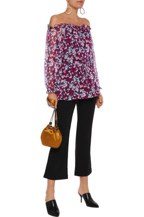 DIANE VON FURSTENBERG Camila off-the-shoulder printed silk-chiffon top