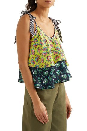 HOUSE OF HOLLAND Tiered printed crepe top