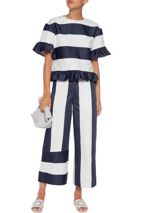 GOEN.J Ruffle-trimmed striped canvas top