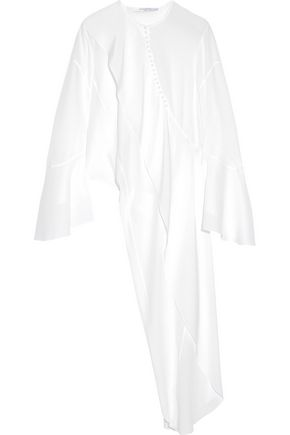 GIVENCHY Asymmetric draped silk crepe de chine shirt