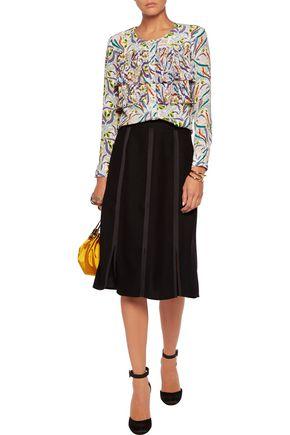 SALONI Jenny pleated printed silk-crepe blouse