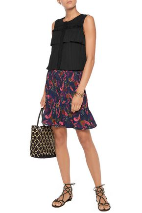 SALONI Cleo cropped paneled pleated crepe top