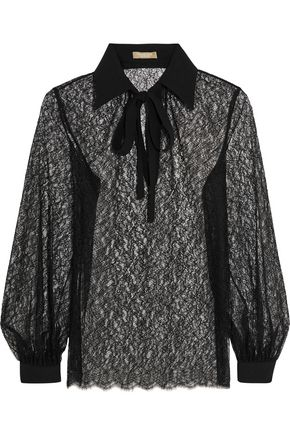 MICHAEL KORS COLLECTION Pussy-bow crepe-trimmed Chantilly lace blouse