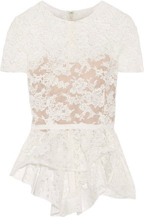 REEM ACRA Cotton-blend corded lace peplum top