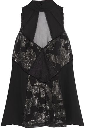 HAUTE HIPPIE Metallic fil coupé-paneled cutout silk-chiffon top