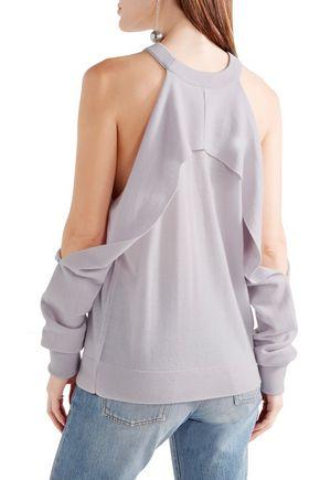 DION LEE Draped cutout merino wool sweater