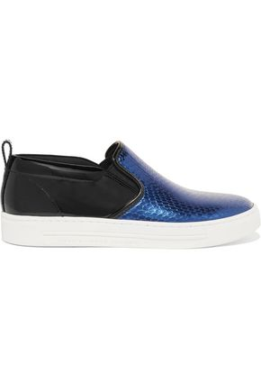 MARC BY MARC JACOBS Broome patent and snake-effect leather sneakers