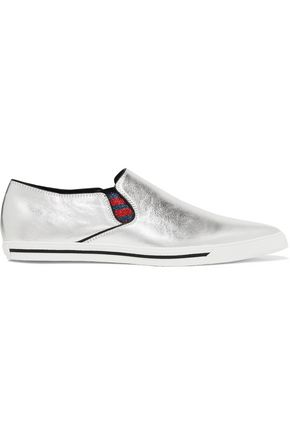 MARC JACOBS Delancey metallic textured-leather slip-on sneakers