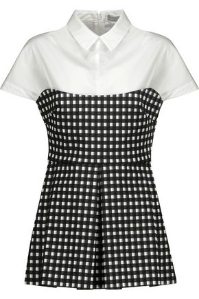 LELA ROSE Layered stretch-cotton poplin and gingham cotton-blend peplum top