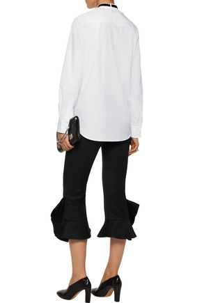 ADAM LIPPES Velvet and lace-trimmed pintucked cotton-poplin shirt