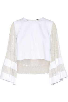 ADAM LIPPES Cropped lace-paneled poplin top