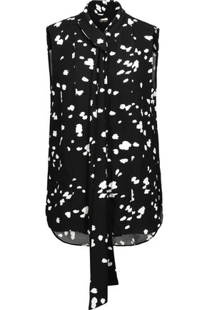 ADAM LIPPES Tie-front printed crepe top