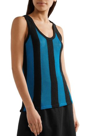 ADAM LIPPES Paneled terry and open-knit top