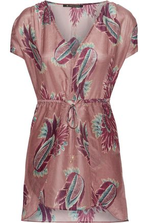 VIX Printed cotton and silk-blend voile coverup