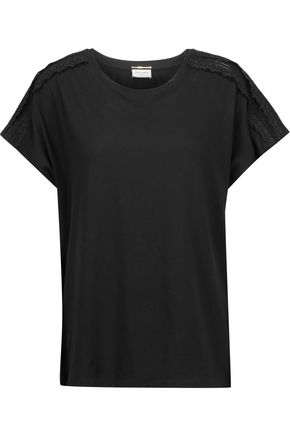 SAINT LAURENT Broderie anglaise and open knit-paneled cotton-jersey top