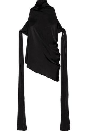 ELLERY The Lizzies cold-shoulder draped stretch-silk top