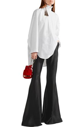 ELLERY Ruffled split-back cotton-poplin top
