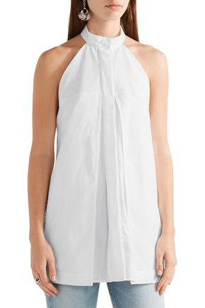 DION LEE Layered cotton-poplin top