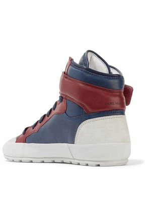 ISABEL MARANT ÉTOILE Bessy suede-trimmed leather high-top sneakers