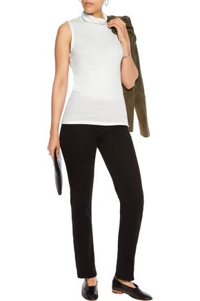 MAJESTIC Cotton and cashmere-blend turtleneck top