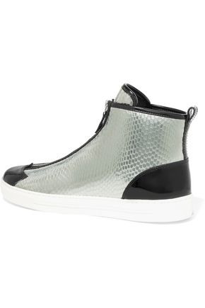 MARC BY MARC JACOBS Beekman patent and snake-effect leather high-top sneakers