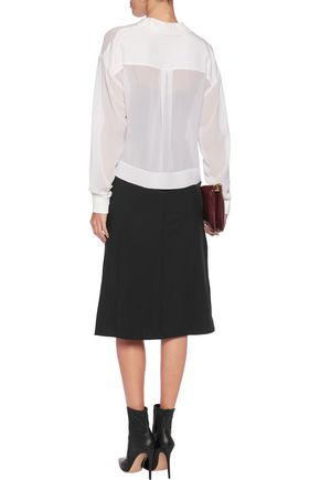 DKNY Cropped silk-chiffon blouse