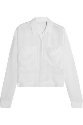 DKNY Cropped silk-chiffon blouse