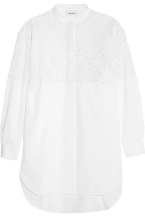 DKNY Lace-paneled cotton shirt