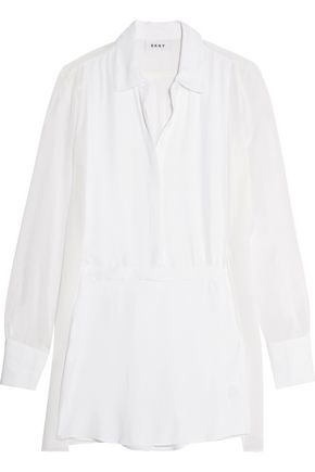 DKNY Paneled crepe and georgette shirt