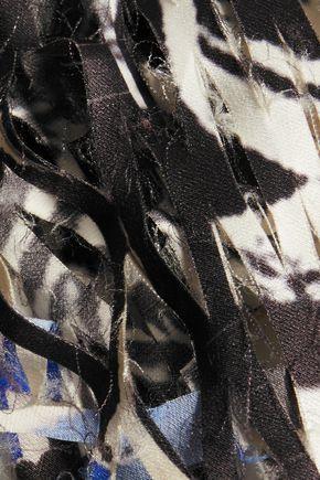 DKNY Shredded printed satin top
