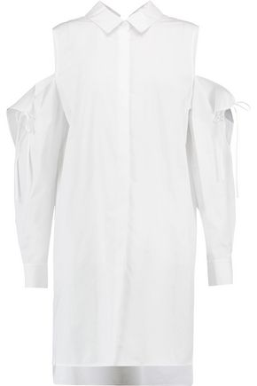 DKNY Cold-shoulder cotton-poplin shirt