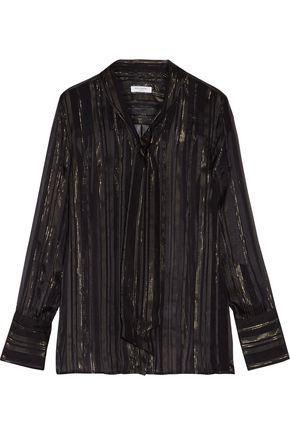 EQUIPMENT Leema tie-front metallic striped silk-blend voile top