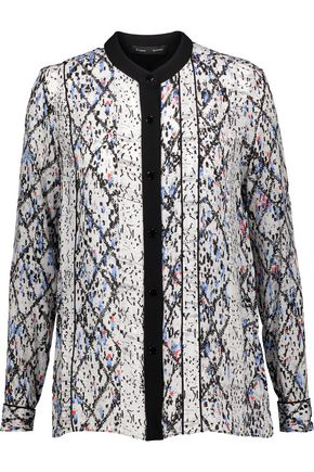 PROENZA SCHOULER Pleated printed silk-georgette shirt