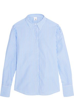 IRIS AND INK Striped cotton-blend poplin shirt