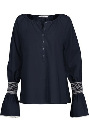 DEREK LAM 10 CROSBY Smocked cotton-poplin top