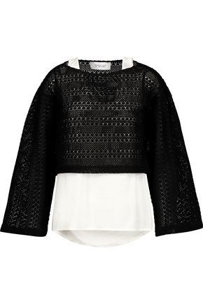 10 CROSBY DEREK LAM Layered crocheted cotton-blend and cotton-poplin top