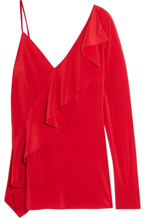 DIANE VON FURSTENBERG One-shoulder ruffled silk crepe de chine blouse