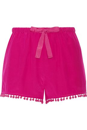 FIGUE Maja pompom-embellished silk crepe de chine shorts