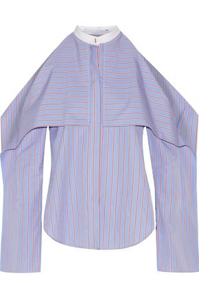 ROSETTA GETTY Cold-shoulder striped cotton-poplin blouse