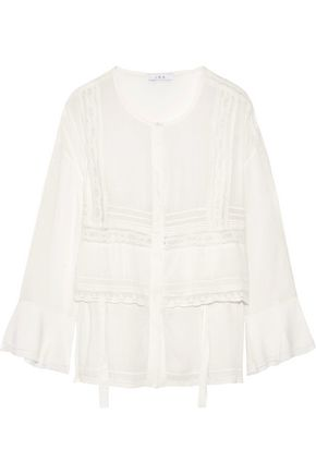 IRO Crochet-trimmed voile blouse