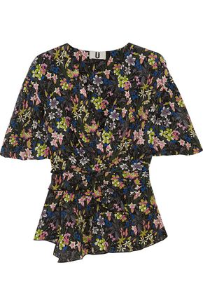 TOPSHOP UNIQUE Aster ruffled printed silk crepe de chine top