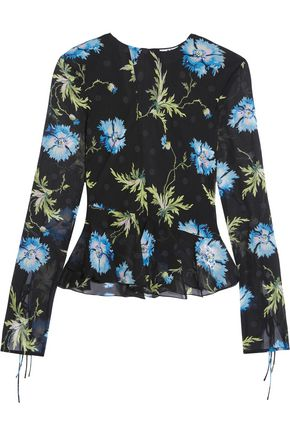 TOPSHOP UNIQUE Evelyn open-back embellished printed silk-georgette blouse