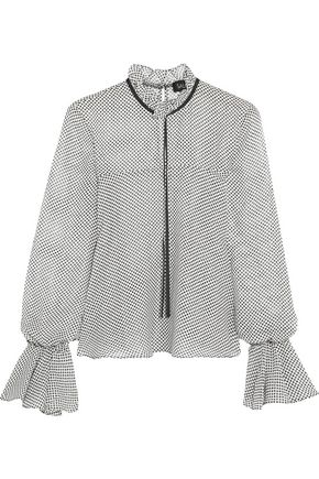 SALONI Tyler ruffled polka-dot silk-chiffon blouse