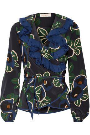 TORY BURCH Jacinta ruffle-trimmed floral-print silk crepe de chine wrap top