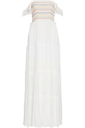 TORY BURCH Smocked crinkled-voile maxi dress