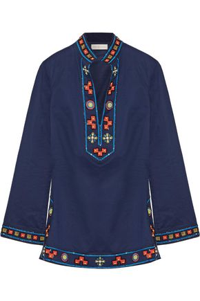 TORY BURCH Tory appliquéd embellished cotton tunic