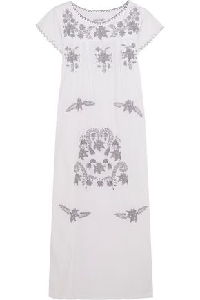 SENSI STUDIO Embroidered textured-cotton midi dress
