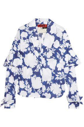 RONALD VAN DER KEMP Floral-print cotton-voile blouse