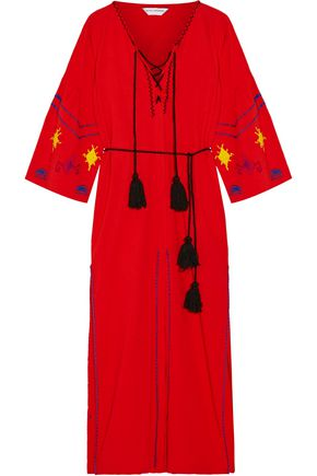 SENSI STUDIO Tasseled embroidered cotton maxi dress